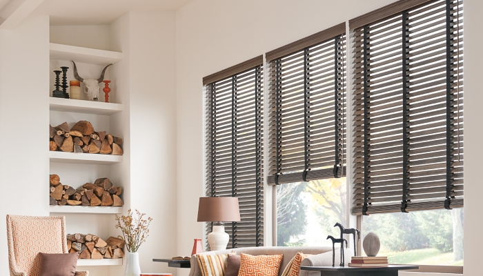 2 Kirsch Wood Blinds With Cloth Tape For The Clic Look Adding Contrast And Color To Walls
